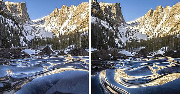 This Photographer Captured A Rare Sight—Frozen Waves At Dream Lake, Colorado