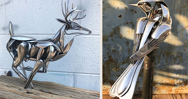 Artist Turns Out-Of-Use Silverware Into Beautiful Sculpture Creations