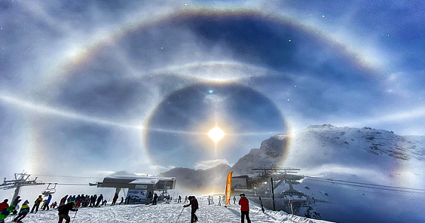 "Man Photographs ""Ice Halo"" Around The Sun In Swiss Alps"
