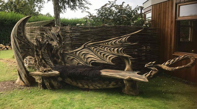 Estonian Chainsaw Master Carves A Fascinating Dragon Bench